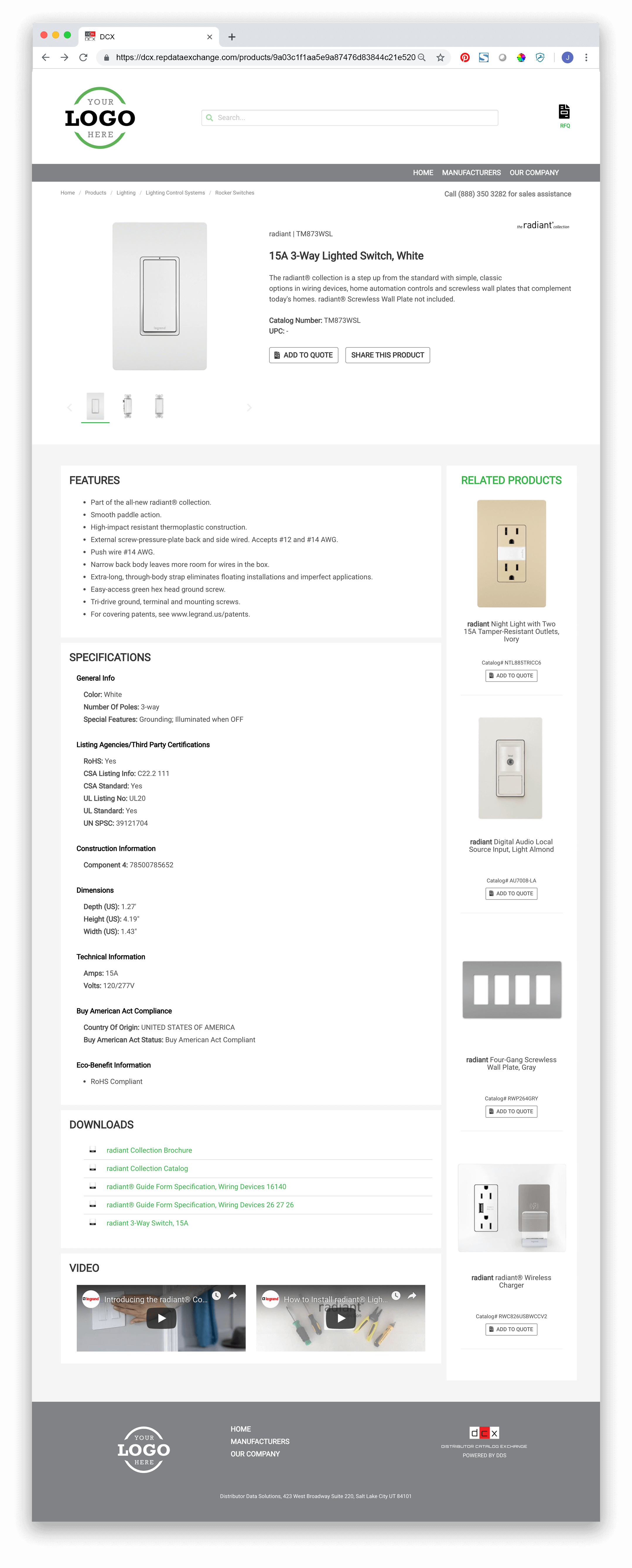 Example DCX Product Detail Page